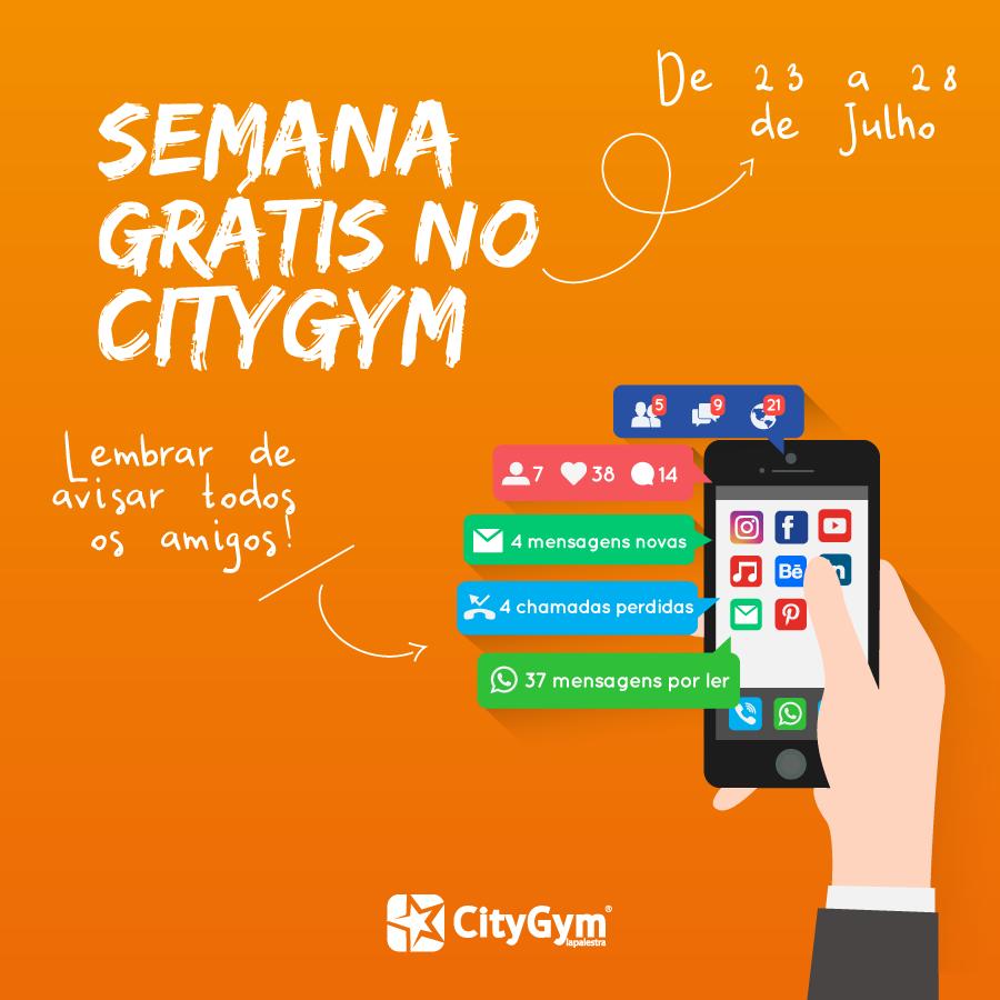 1 Semana Grátis no CityGym – 23 a 28 de Julho